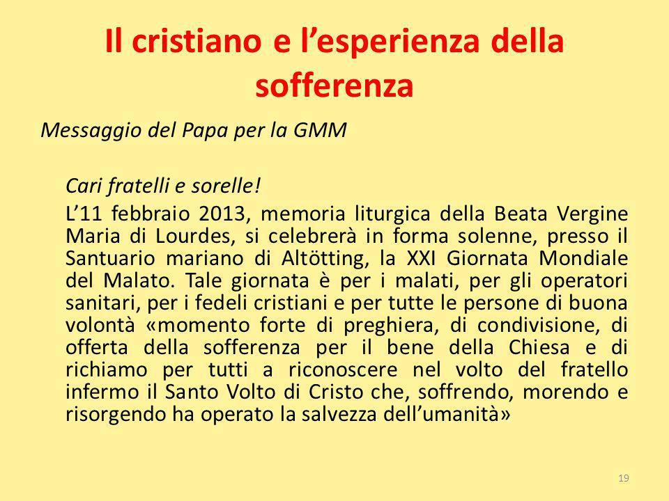 Il cristiano e lesperienza della sofferenza Messaggio del Papa per la GMM Cari fratelli e sorelle! L11 febbraio 2013, memoria liturgica della Beata Ve