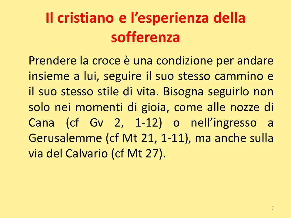 Il cristiano e lesperienza della sofferenza Prendere la croce è una condizione per andare insieme a lui, seguire il suo stesso cammino e il suo stesso