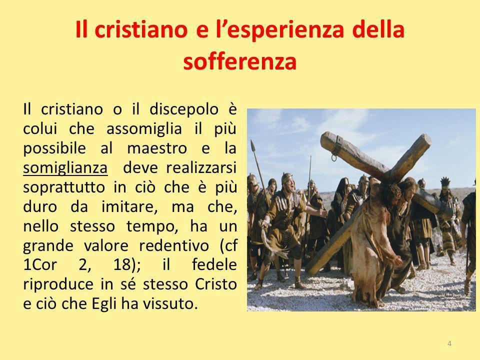 Il cristiano e lesperienza della sofferenza Il cristiano o il discepolo è colui che assomiglia il più possibile al maestro e la somiglianza deve reali
