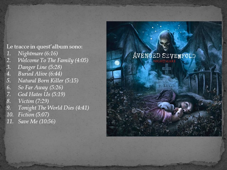 Le tracce in questalbum sono: 1. Nightmare (6:16) 2. Welcome To The Family (4:05) 3. Danger Line (5:28) 4. Buried Alive (6:44) 5. Natural Born Killer