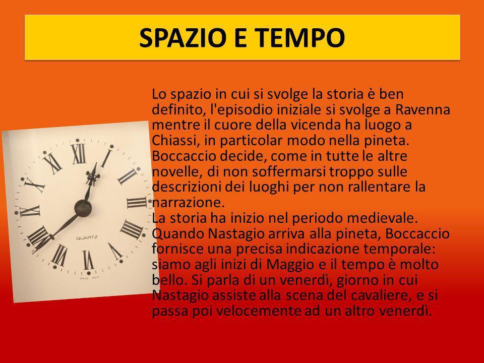 SPAZIO E TEMPO Lo spazio in cui si svolge la storia è ben definito, l episodio iniziale si svolge a Ravenna mentre il cuore della vicenda ha luogo a Chiassi, in particolar modo nella pineta.