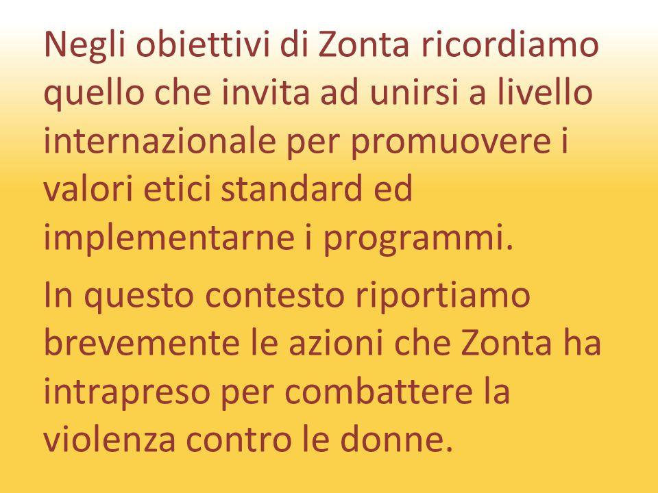 Negli obiettivi di Zonta ricordiamo quello che invita ad unirsi a livello internazionale per promuovere i valori etici standard ed implementarne i programmi.