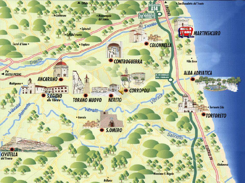 http://www.unionecomunivalvibrata.it/territoriohttp://www.unionecomunivalvibrata.it/territorio.php Partendo da Martinsicuro, località balneare, custodisce una torre di guardia con le insegne di Carlo V, attraverso una pittoresca strada, costellata di vigneti e frutteti, si giunge, in soli sei chilometri, a Colonnella, ricca di monumenti e di splendide vedute sui fiumi Tronto e Vibrata, sui Monti della Laga, sul Gran Sasso e sul mare.