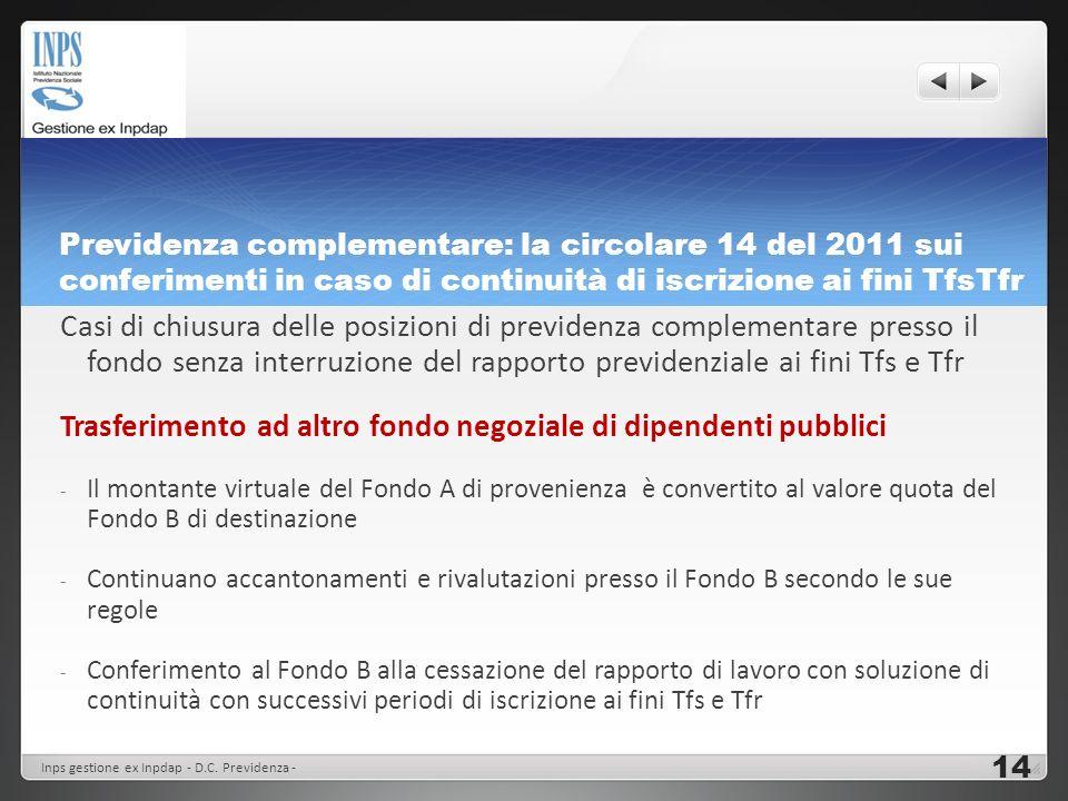 Previdenza complementare: la circolare 14 del 2011 sui conferimenti in caso di continuità di iscrizione ai fini TfsTfr Casi di chiusura delle posizion