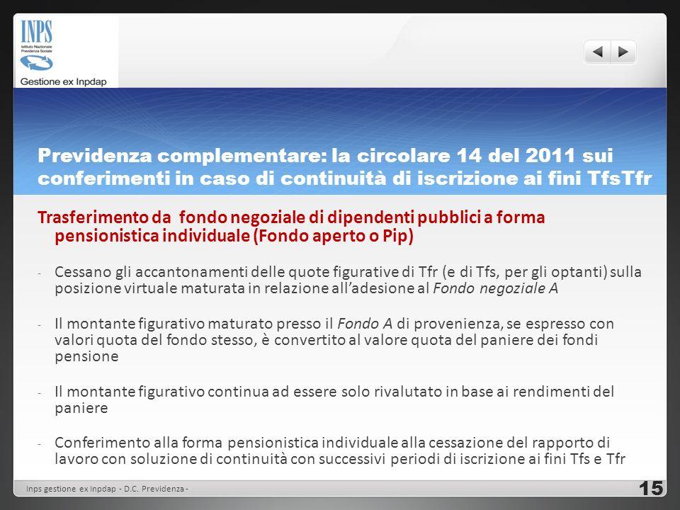 Previdenza complementare: la circolare 14 del 2011 sui conferimenti in caso di continuità di iscrizione ai fini TfsTfr Trasferimento da fondo negozial