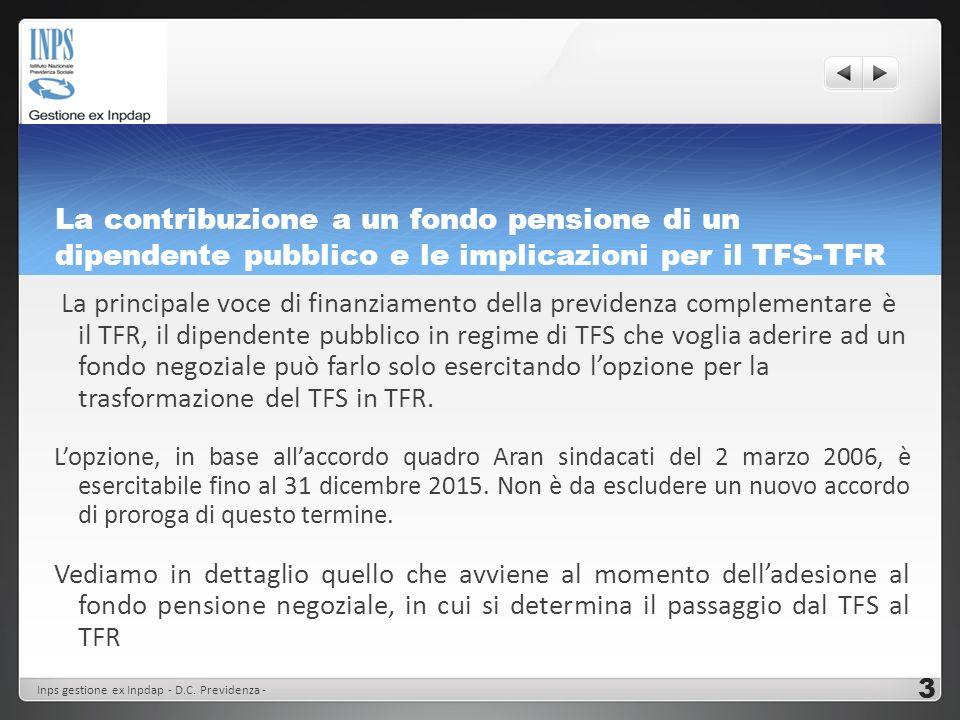 La contribuzione a un fondo pensione di un dipendente pubblico e le implicazioni per il TFS-TFR Il passaggio dal TFS al TFR Si effettua il calcolo del TFS maturato fino al momento delladesione e lo si trasforma in TFR.