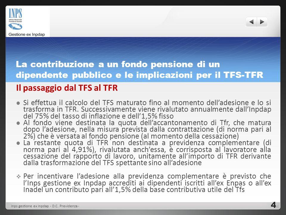 La contribuzione a un fondo pensione di un dipendente pubblico e le implicazioni per il TFS-TFR Il passaggio dal TFS al TFR Si effettua il calcolo del