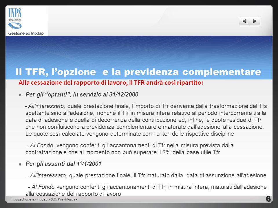 Lopzione per il TFR e la previdenza complementare Dipendente a tempo indeterminato In servizio al 31/12/2000 Opta per il TFR aderendo alla Previdenza complementare Non aderisce alla previdenza complementare Assunto dopo il 31/12/2000 TFR TFR: max 2% al Fondo + 1,5% base TFS TFS Aderisce alla Prev Compl : intero TFR al Fondo Non aderisce: intero TFR al lavoratore Scadenza per lopzione: 31/12/2015 Inps gestione ex Inpdap - D.C.