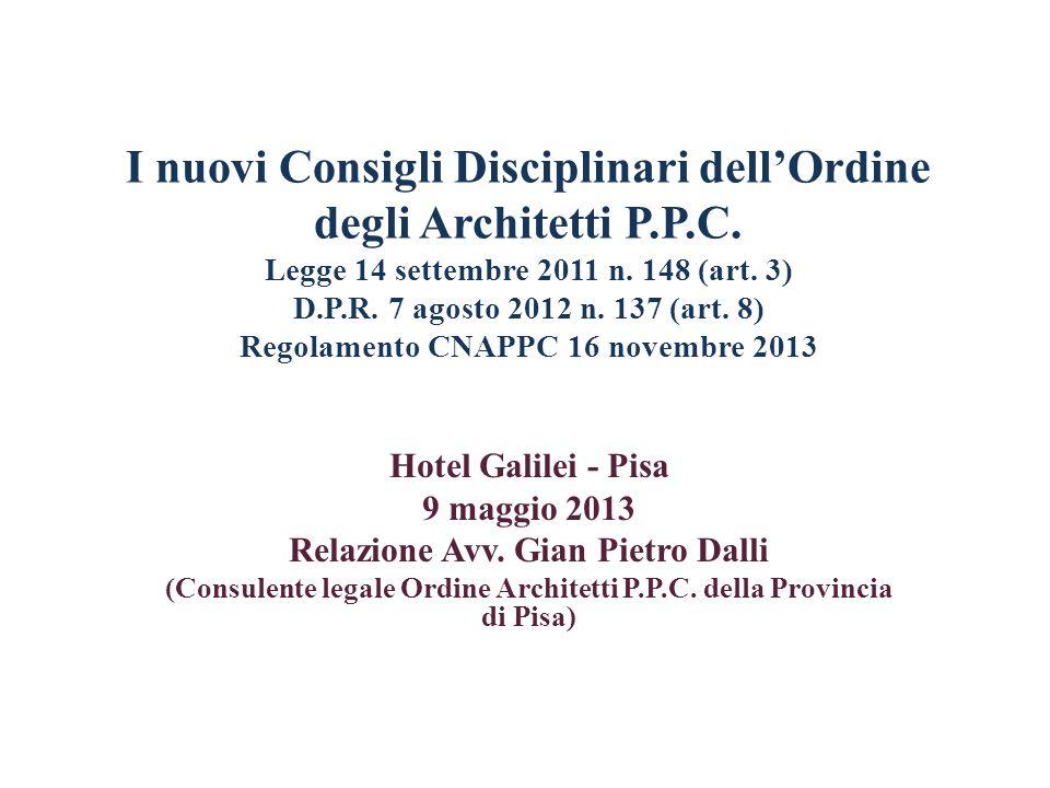 I nuovi Consigli Disciplinari dellOrdine degli Architetti P.P.C. Legge 14 settembre 2011 n. 148 (art. 3) D.P.R. 7 agosto 2012 n. 137 (art. 8) Regolame