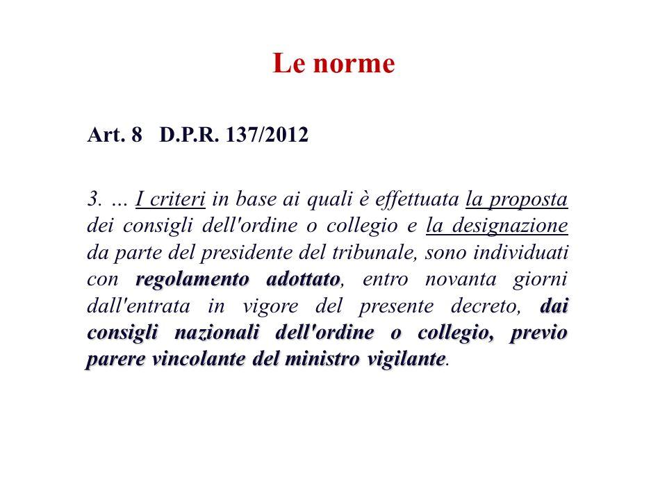 Le norme Art. 8 D.P.R. 137/2012 regolamento adottato dai consigli nazionali dell'ordine o collegio, previo parere vincolante del ministro vigilante 3.