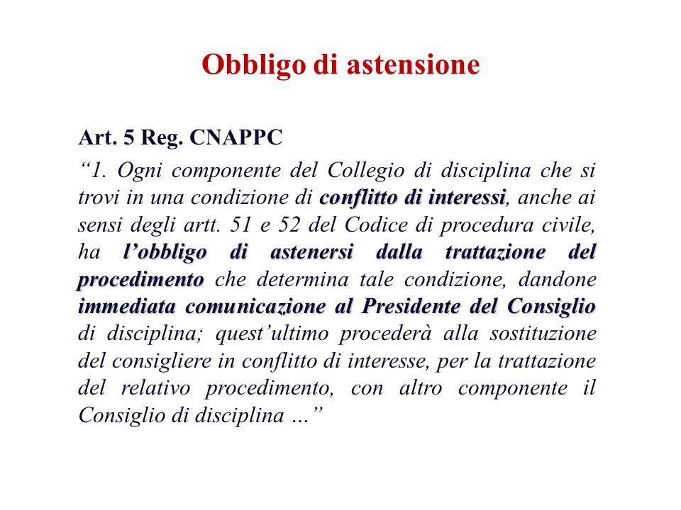 Art. 5 Reg. CNAPPC conflitto di interessi lobbligo di astenersi dalla trattazione del procedimento immediata comunicazione al Presidente del Consiglio