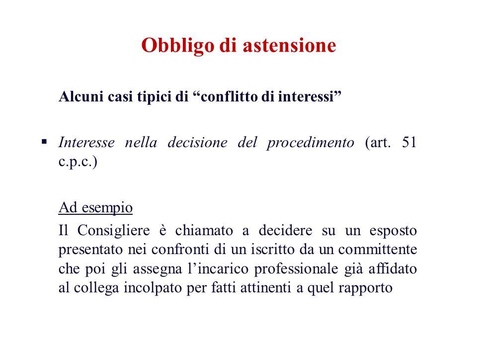 Alcuni casi tipici di conflitto di interessi Interesse nella decisione del procedimento (art. 51 c.p.c.) Ad esempio Il Consigliere è chiamato a decide