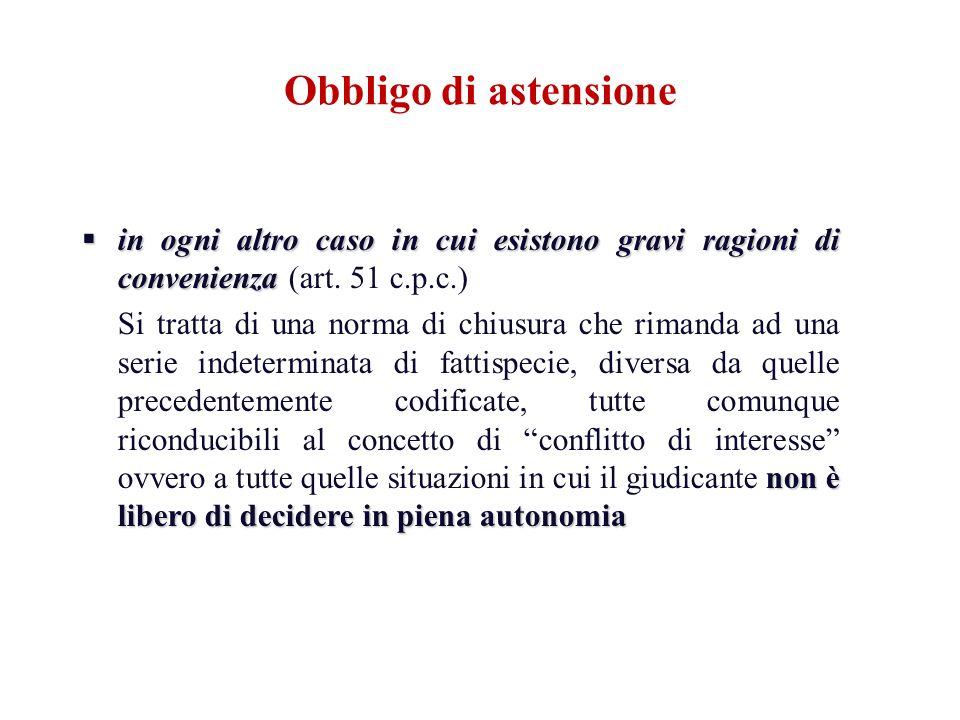 in ogni altro caso in cui esistono gravi ragioni di convenienza in ogni altro caso in cui esistono gravi ragioni di convenienza (art. 51 c.p.c.) non è