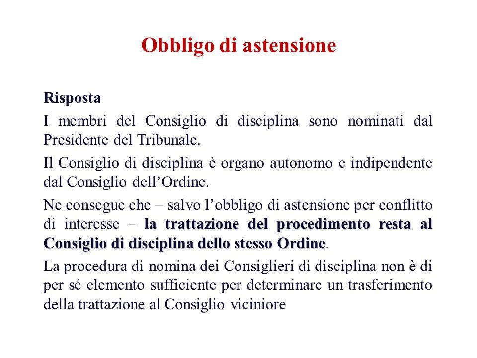 Risposta I membri del Consiglio di disciplina sono nominati dal Presidente del Tribunale. Il Consiglio di disciplina è organo autonomo e indipendente