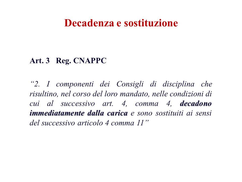 Art. 3 Reg. CNAPPC decadono immediatamente dalla carica 2. I componenti dei Consigli di disciplina che risultino, nel corso del loro mandato, nelle co