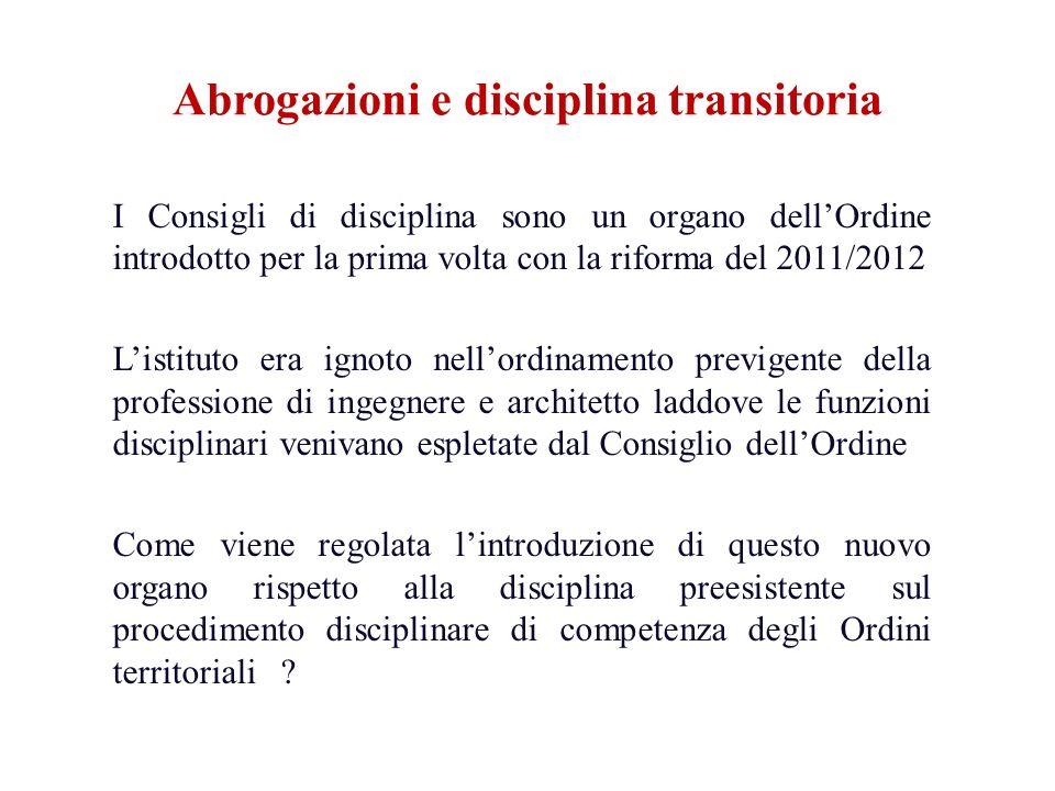 I Consigli di disciplina sono un organo dellOrdine introdotto per la prima volta con la riforma del 2011/2012 Listituto era ignoto nellordinamento pre