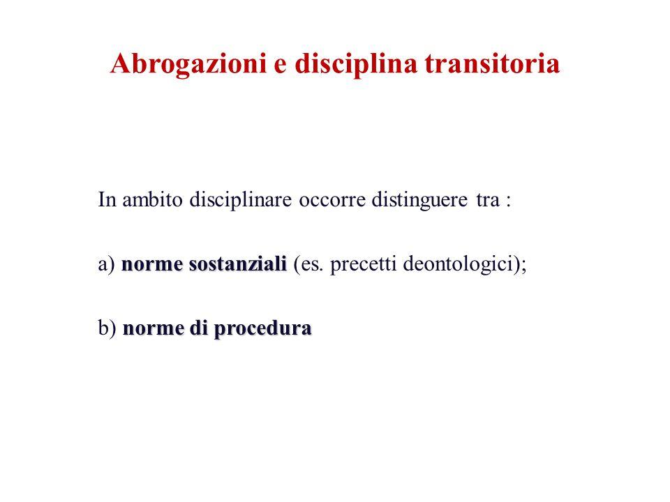 In ambito disciplinare occorre distinguere tra : norme sostanziali a) norme sostanziali (es. precetti deontologici); norme di procedura b) norme di pr