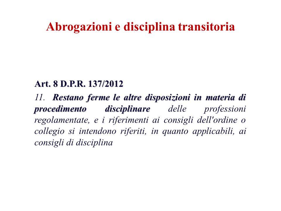 Art. 8 D.P.R. 137/2012 Restano ferme le altre disposizioni in materia di procedimento disciplinare 11. Restano ferme le altre disposizioni in materia