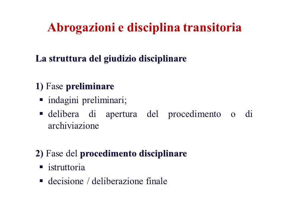 La struttura del giudizio disciplinare preliminare 1) Fase preliminare indagini preliminari; delibera di apertura del procedimento o di archiviazione