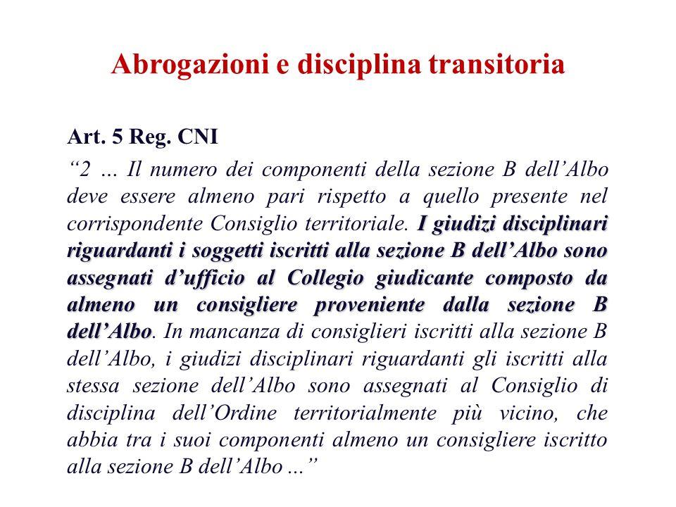 Art. 5 Reg. CNI I giudizi disciplinari riguardanti i soggetti iscritti alla sezione B dellAlbo sono assegnati dufficio al Collegio giudicante composto