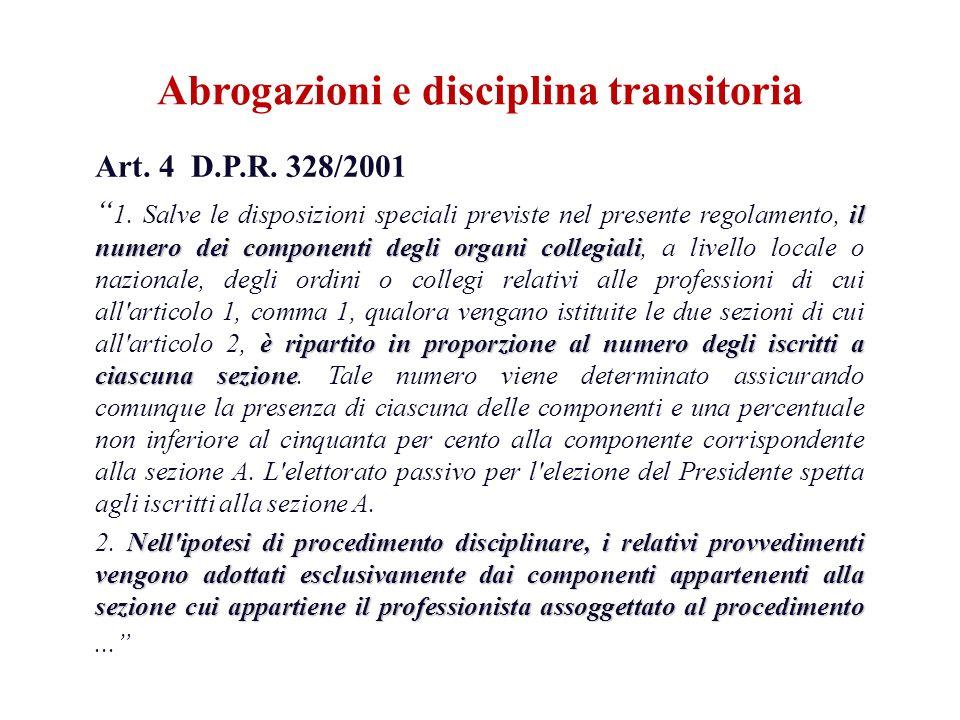 Art. 4 D.P.R. 328/2001 il numero dei componenti degli organi collegiali è ripartito in proporzione al numero degli iscritti a ciascuna sezione 1. Salv