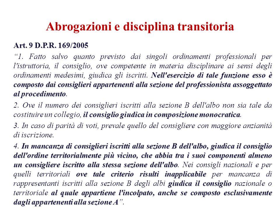 Art. 9 D.P.R. 169/2005 Nell'esercizio di tale funzione esso è composto dai consiglieri appartenenti alla sezione del professionista assoggettato al pr