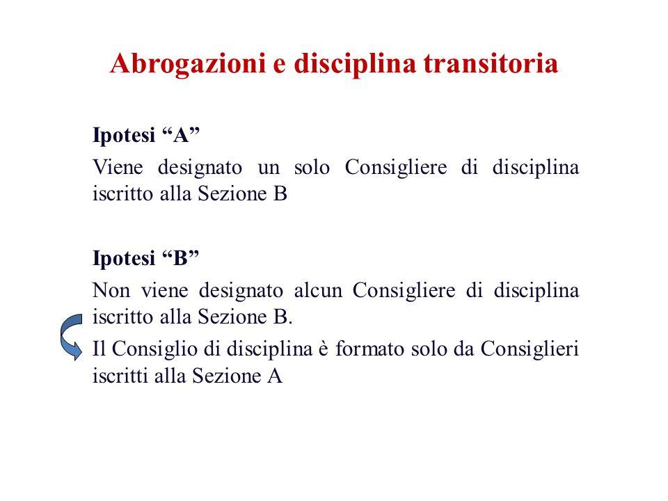 Ipotesi A Viene designato un solo Consigliere di disciplina iscritto alla Sezione B Ipotesi B Non viene designato alcun Consigliere di disciplina iscr