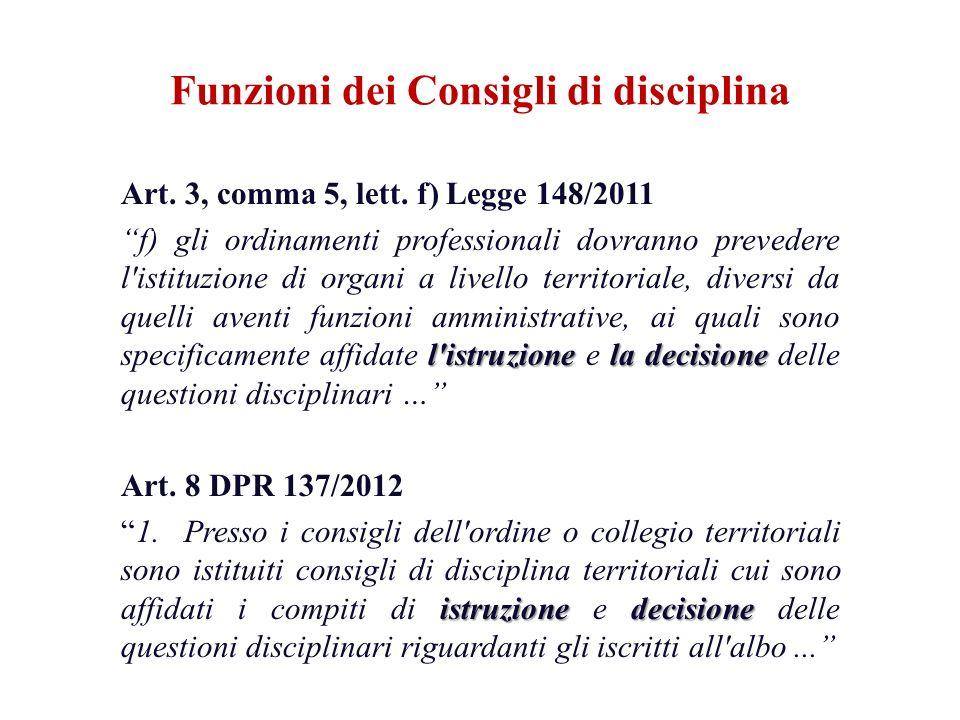 Funzioni dei Consigli di disciplina Art. 3, comma 5, lett. f) Legge 148/2011 l'istruzionela decisione f) gli ordinamenti professionali dovranno preved