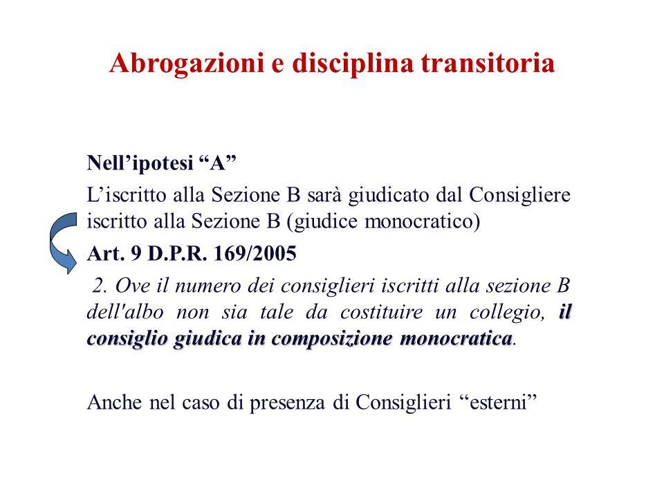 Nellipotesi A Liscritto alla Sezione B sarà giudicato dal Consigliere iscritto alla Sezione B (giudice monocratico) Art. 9 D.P.R. 169/2005 il consigli