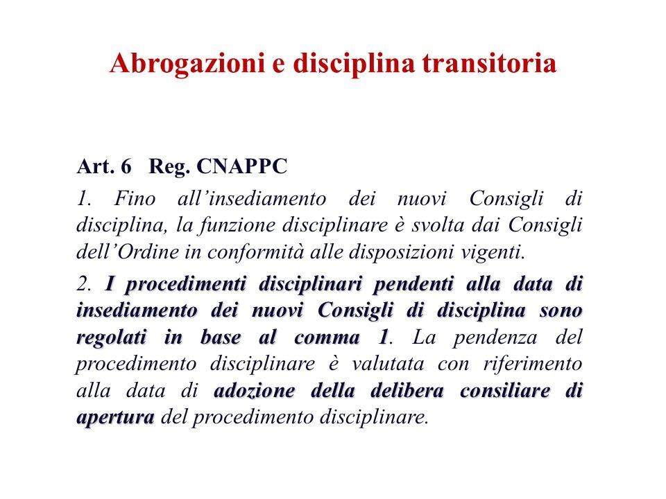 Art. 6 Reg. CNAPPC 1. Fino allinsediamento dei nuovi Consigli di disciplina, la funzione disciplinare è svolta dai Consigli dellOrdine in conformità a
