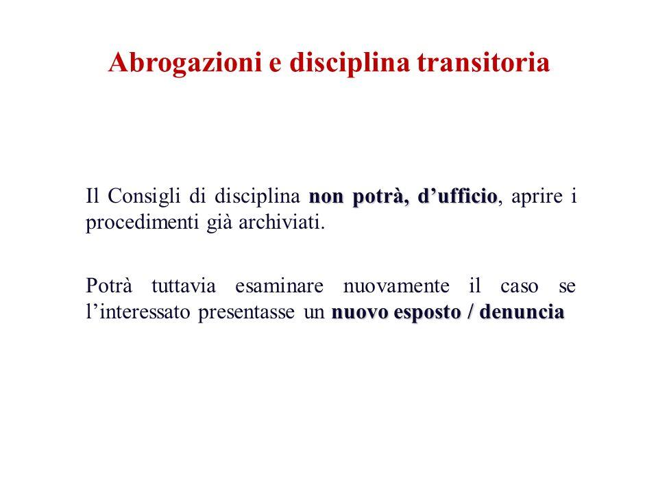 non potrà, dufficio Il Consigli di disciplina non potrà, dufficio, aprire i procedimenti già archiviati. nuovo esposto / denuncia Potrà tuttavia esami