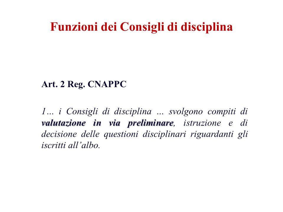 Funzioni dei Consigli di disciplina Art. 2 Reg. CNAPPC valutazione in via preliminare 1… i Consigli di disciplina … svolgono compiti di valutazione in
