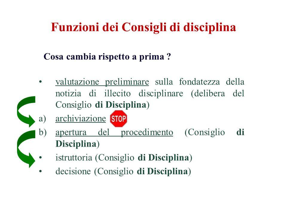 Funzioni dei Consigli di disciplina Cosa cambia rispetto a prima ? valutazione preliminare sulla fondatezza della notizia di illecito disciplinare (de