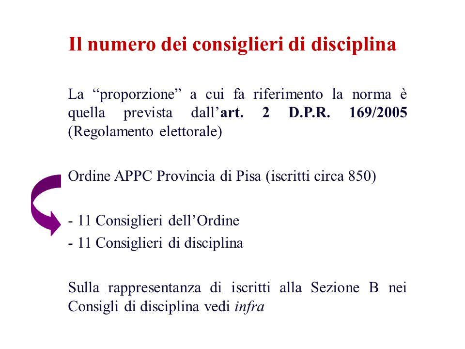 La proporzione a cui fa riferimento la norma è quella prevista dallart. 2 D.P.R. 169/2005 (Regolamento elettorale) Ordine APPC Provincia di Pisa (iscr