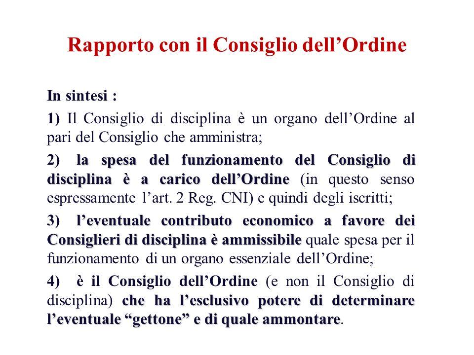 In sintesi : 1) Il Consiglio di disciplina è un organo dellOrdine al pari del Consiglio che amministra; la spesa del funzionamento del Consiglio di di