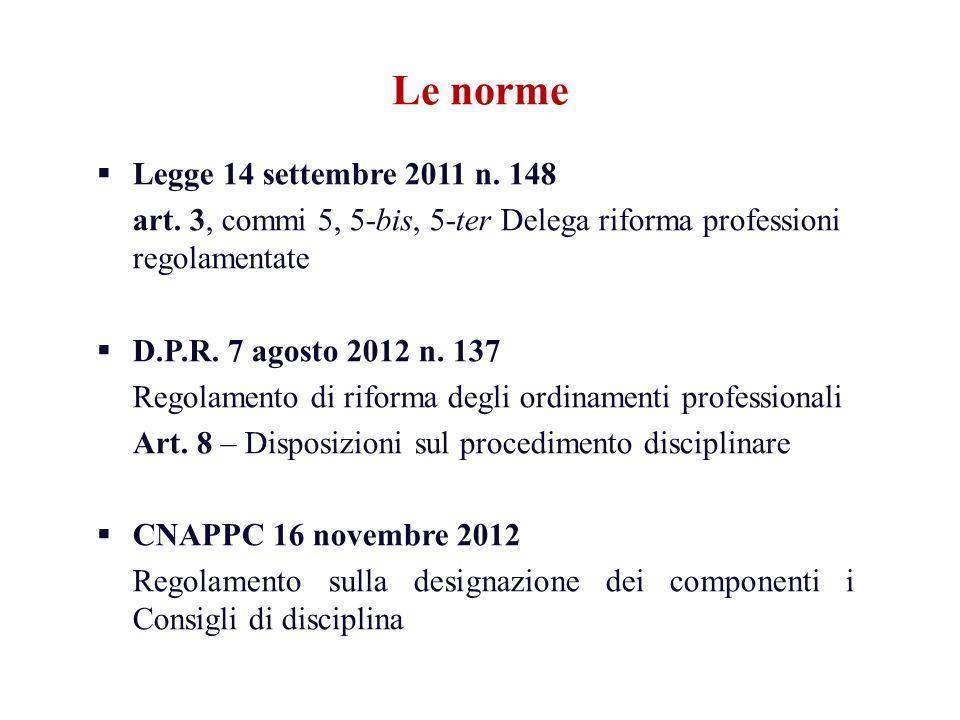 Le norme Legge 14 settembre 2011 n. 148 art. 3, commi 5, 5-bis, 5-ter Delega riforma professioni regolamentate D.P.R. 7 agosto 2012 n. 137 Regolamento