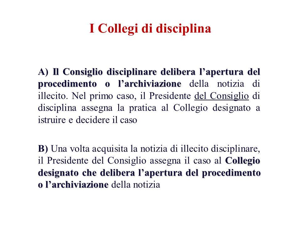 Il Consiglio disciplinare delibera lapertura del procedimento o larchiviazione A) Il Consiglio disciplinare delibera lapertura del procedimento o larc