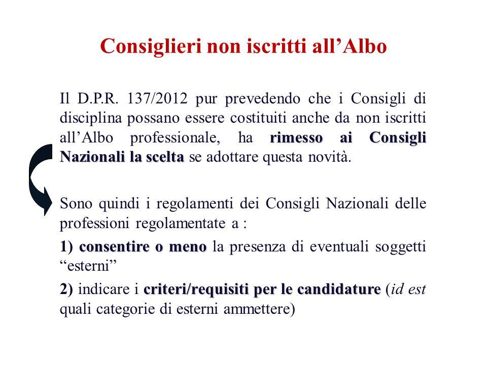 rimesso ai Consigli Nazionali la scelta Il D.P.R. 137/2012 pur prevedendo che i Consigli di disciplina possano essere costituiti anche da non iscritti