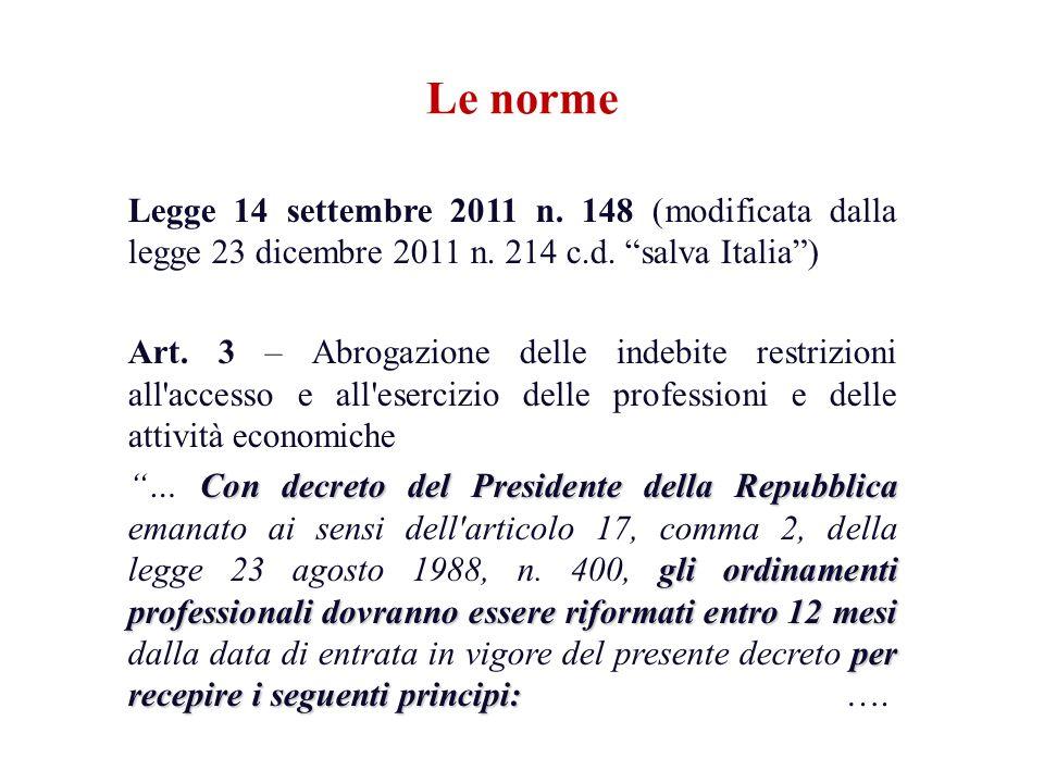 Le norme Legge 14 settembre 2011 n. 148 (modificata dalla legge 23 dicembre 2011 n. 214 c.d. salva Italia) Art. 3 – Abrogazione delle indebite restriz