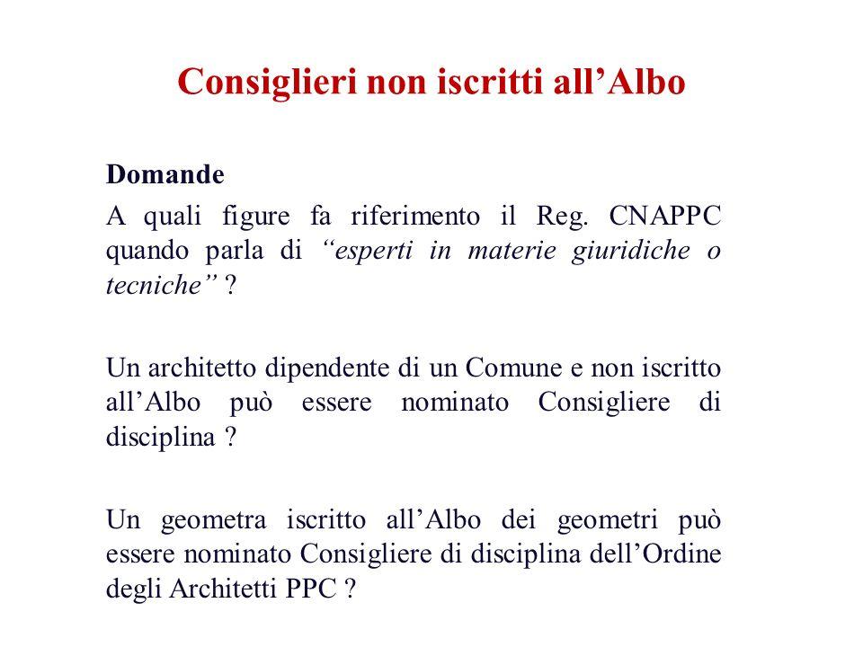 Domande A quali figure fa riferimento il Reg. CNAPPC quando parla di esperti in materie giuridiche o tecniche ? Un architetto dipendente di un Comune