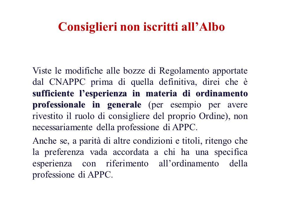 sufficiente lesperienza in materia di ordinamento professionale in generale Viste le modifiche alle bozze di Regolamento apportate dal CNAPPC prima di