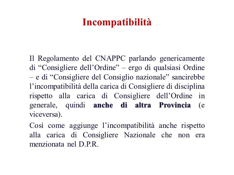 anche di altra Provincia Il Regolamento del CNAPPC parlando genericamente di Consigliere dellOrdine – ergo di qualsiasi Ordine – e di Consigliere del