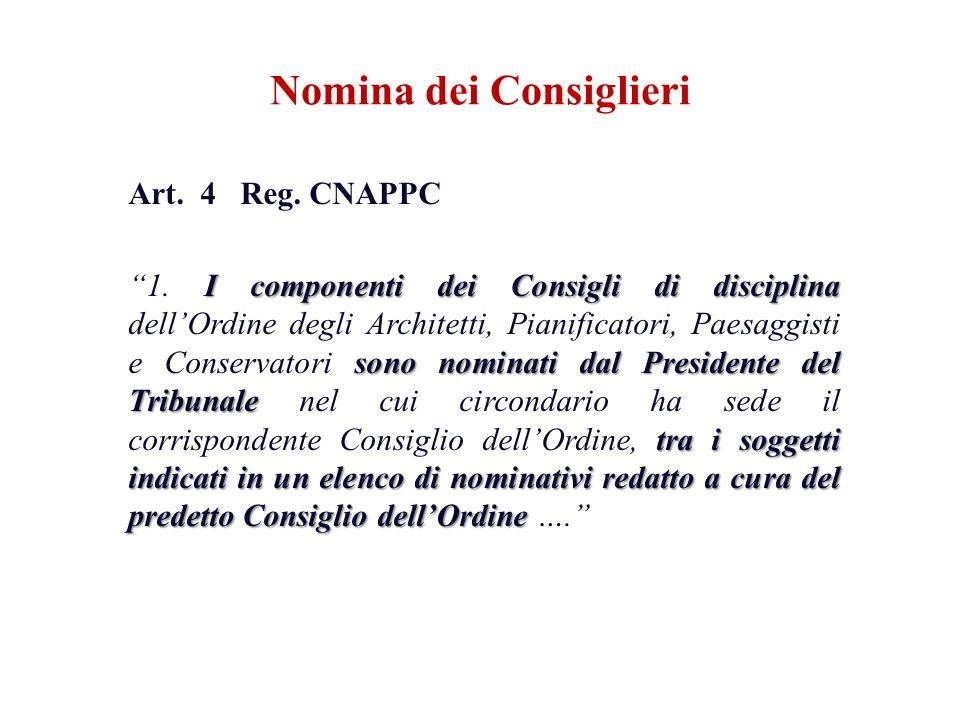 Art. 4 Reg. CNAPPC I componenti dei Consigli di disciplina sono nominati dal Presidente del Tribunale tra i soggetti indicati in un elenco di nominati