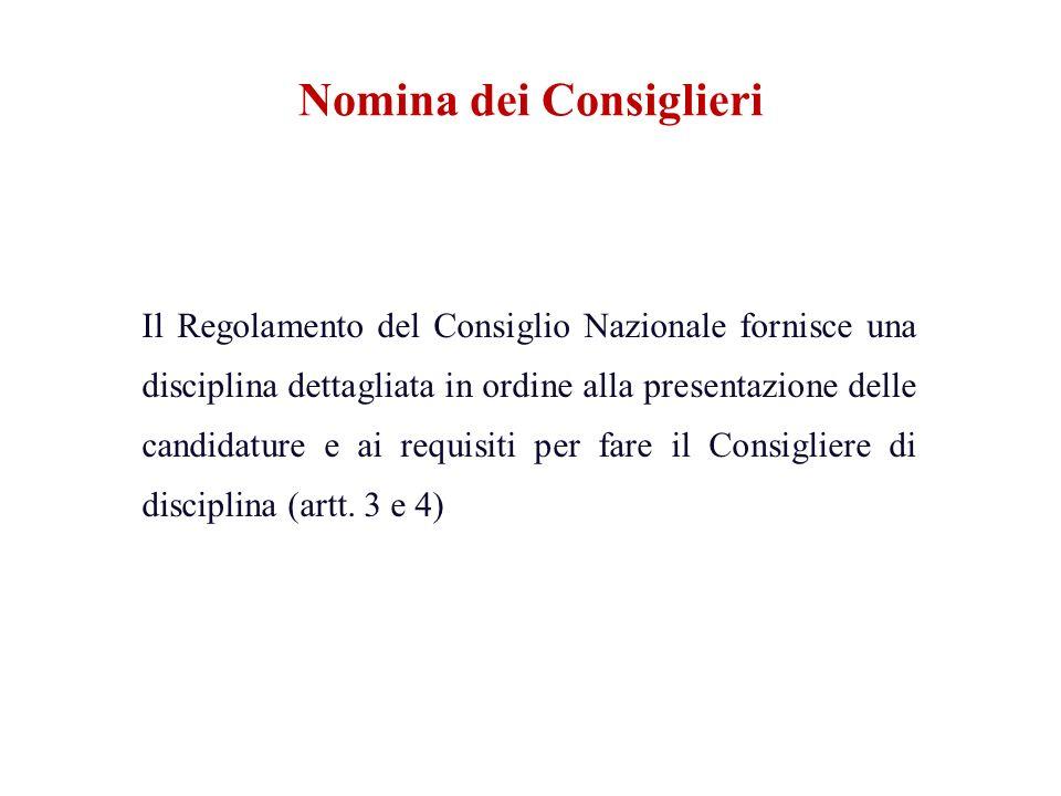 Il Regolamento del Consiglio Nazionale fornisce una disciplina dettagliata in ordine alla presentazione delle candidature e ai requisiti per fare il C