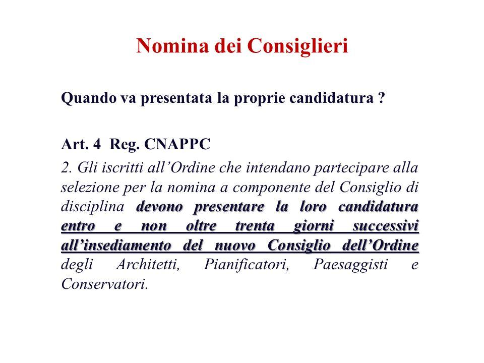 Quando va presentata la proprie candidatura ? Art. 4 Reg. CNAPPC devono presentare la loro candidatura entro e non oltre trenta giorni successivi alli