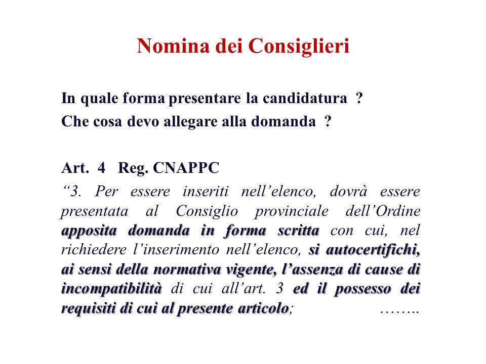 In quale forma presentare la candidatura ? Che cosa devo allegare alla domanda ? Art. 4 Reg. CNAPPC appositadomanda in forma scritta si autocertifichi