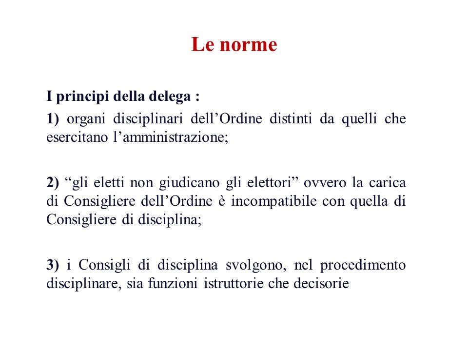 Le norme I principi della delega : 1) organi disciplinari dellOrdine distinti da quelli che esercitano lamministrazione; 2) gli eletti non giudicano g