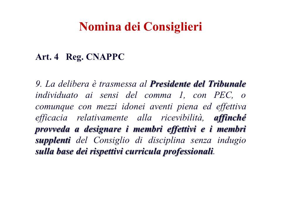 Art. 4 Reg. CNAPPC Presidente del Tribunale affinché provveda a designare i membri effettivi e i membri supplenti sulla base dei rispettivi curricula