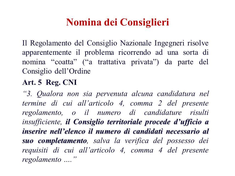 Il Regolamento del Consiglio Nazionale Ingegneri risolve apparentemente il problema ricorrendo ad una sorta di nomina coatta (a trattativa privata) da