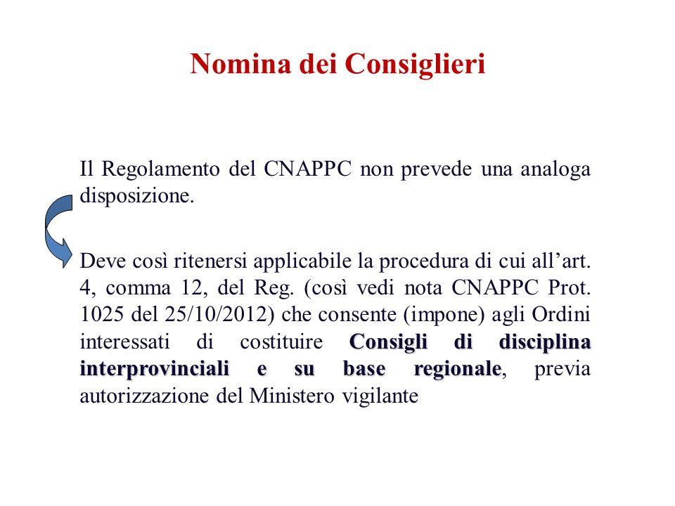 Il Regolamento del CNAPPC non prevede una analoga disposizione. Consigli di disciplina interprovinciali e su base regionale Deve così ritenersi applic